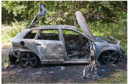 Burnt-out Audi