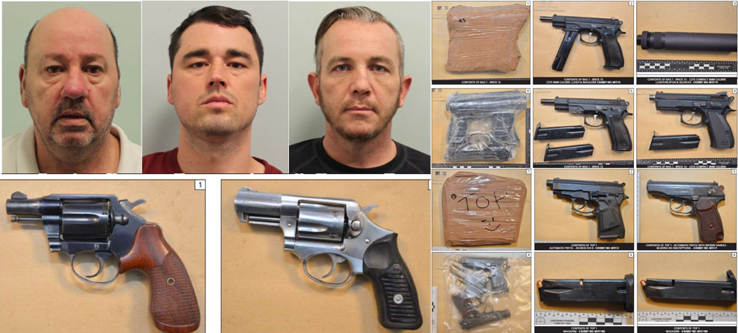 Convicted men and illegally imported weapons and drugs