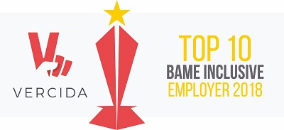 Vercida top 10 BAME employer award