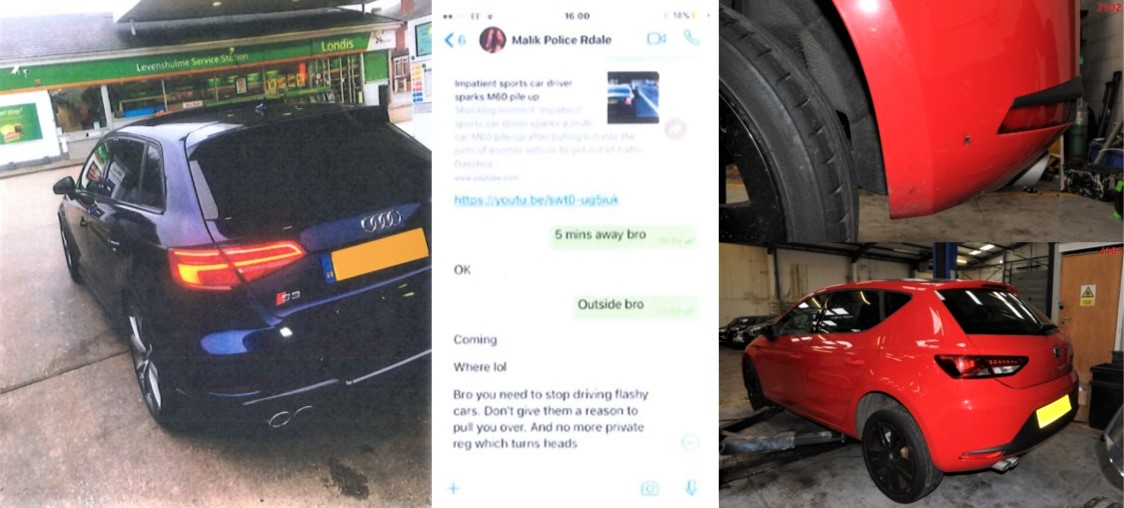 Photo of: a car that Anis asked Malik to trace information on, Snapchat messages between Anis and Malik and a car with a bullet hole in the bumper